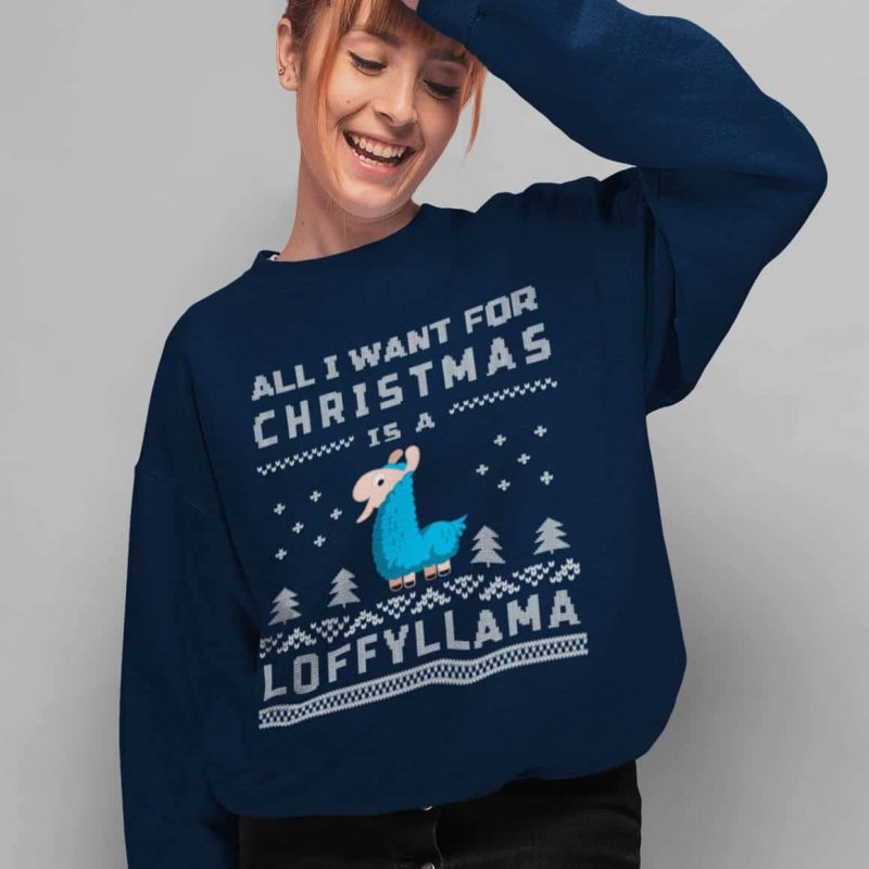 All I Want For Christmas Is A Loffyllama – Unisex Crew Neck Sweatshirt (Navy)
